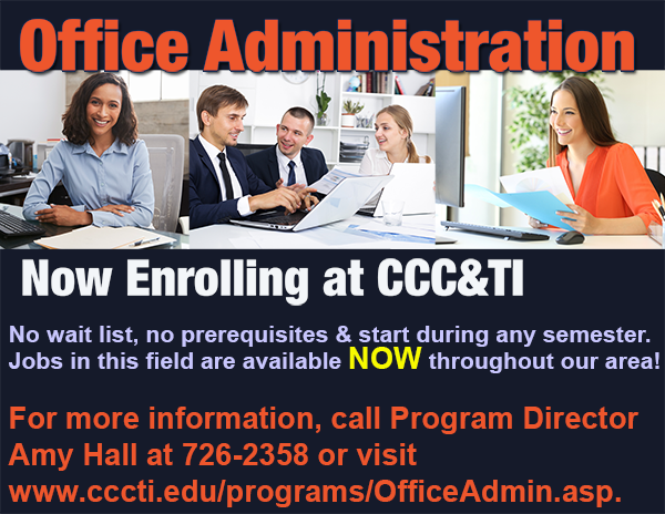 Advertisement fot Office Administration Program