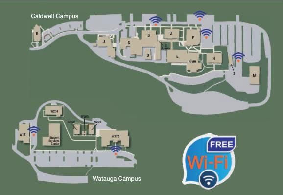 Map of strongest wifi signal on CCC&TI campuses