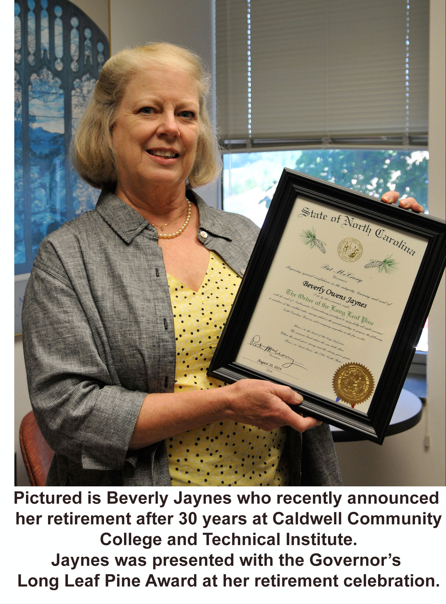 Beverly Jaynes with Long Leaf Pine Award