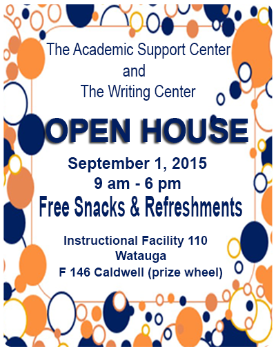 Writing Center Open House 9/1 9am - 6 pm