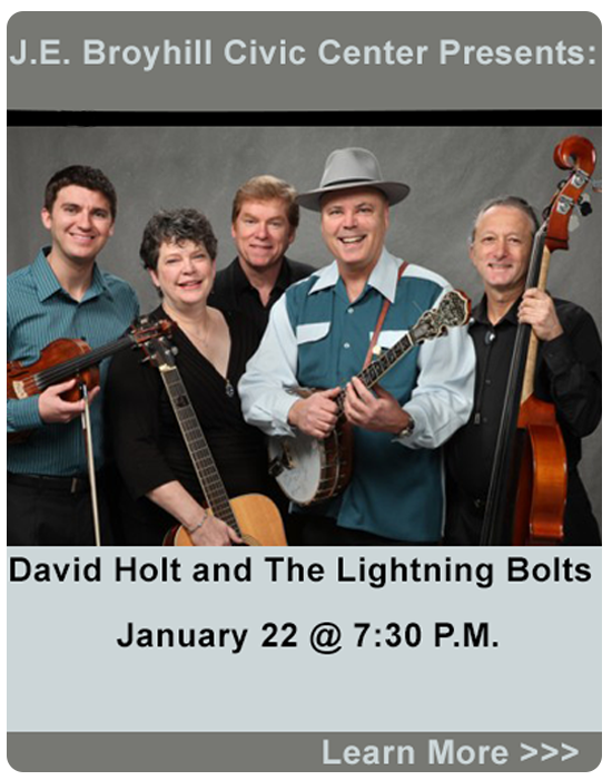 J.E. Broyhill Civic Center presents :David Holt and the Lightning Bolts, January 22 at 7:30 P.M.