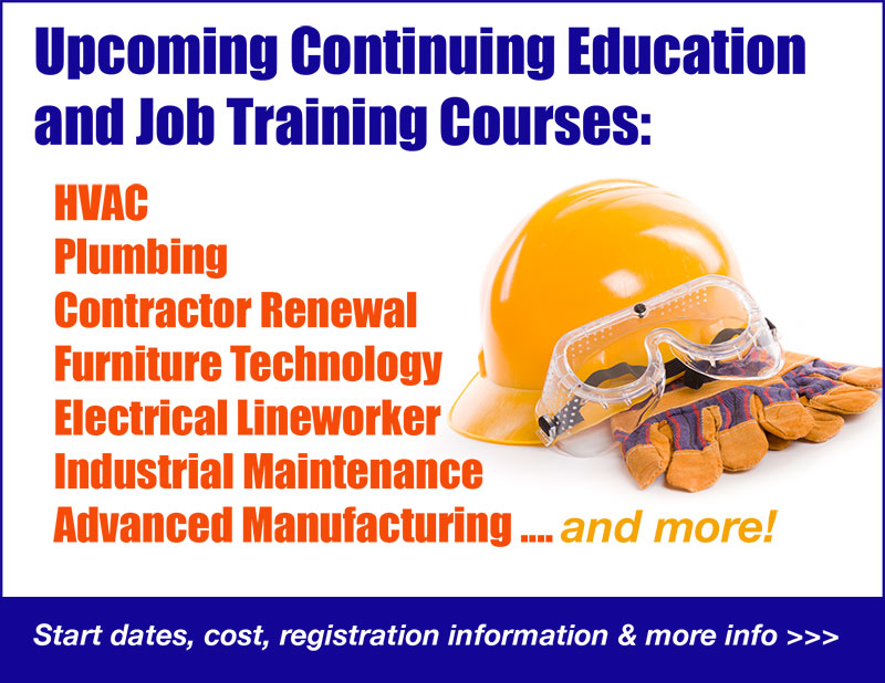 ad for Upcoming Continuing Education and Job Training courses